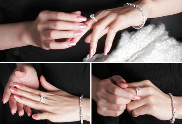 女性の腕元を綺麗に見せる総カラット数4カラットの完璧な美しさ
