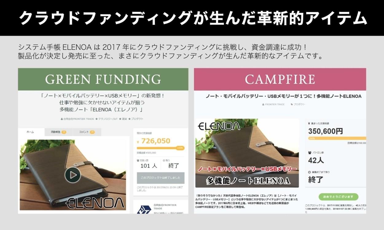 クラウドファンディングが生んだ革新的アイテム。システム手帳ELENOAは2017年にクラウドファンディングに挑戦し、資金調達に成功!製品化が決定し発売に至った、まさにクラウドファンディングが生んだ革新的なアイテムです。