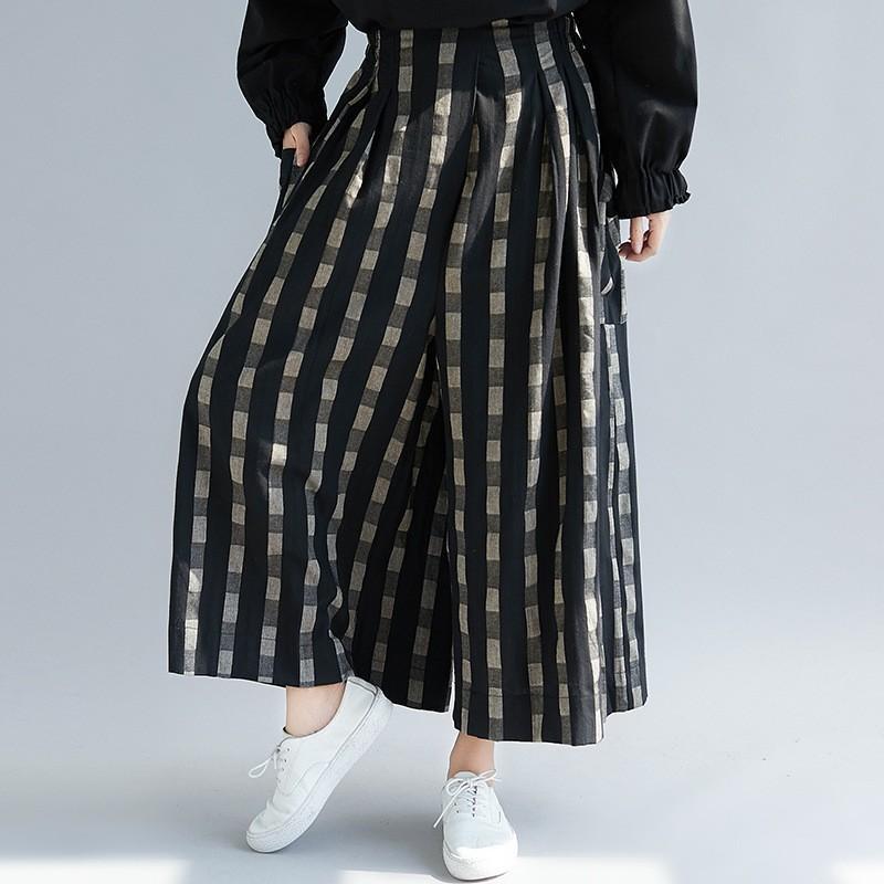 ガウチョパンツ パンツ コットン レディース ズボン ウェストゴム 大きいサイズ ポケット付き チェック柄 ゆったり スカンツ スカーチョ 春 夏 30代 40代 50代 fukumarufukumaru 09