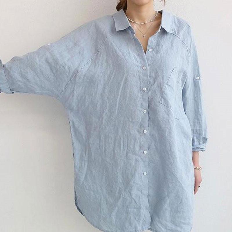 シャツ ブラウス シャツブラウス ロングシャツ レディース トップス チュニック 長袖 体型カバー 大きいサイズ Vネック ゆったり 綿麻風 無地 30代 40代 fukumarufukumaru 10