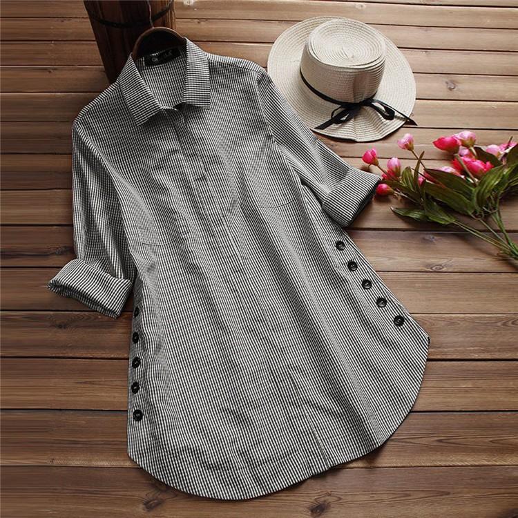ブラウス シャツブラウス トップス ロングシャツ レディース ストライプ柄 チュニック 柄 チェック柄 体型カバー 長袖 大きいサイズ アウター シンプル きれい|fukumarufukumaru|10