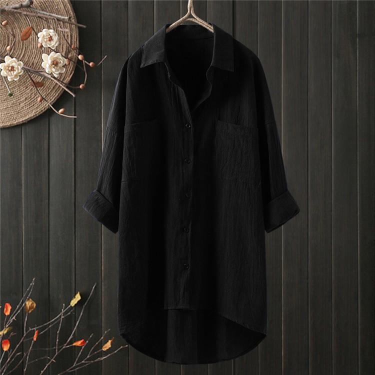 ロングシャツ ブラウス シャツ トップス シャツブラウス レディース チュニック ロング 折り襟 綿麻 長袖 無地 ポケット 体型カバー ゆったり シンプル 30代|fukumarufukumaru|12