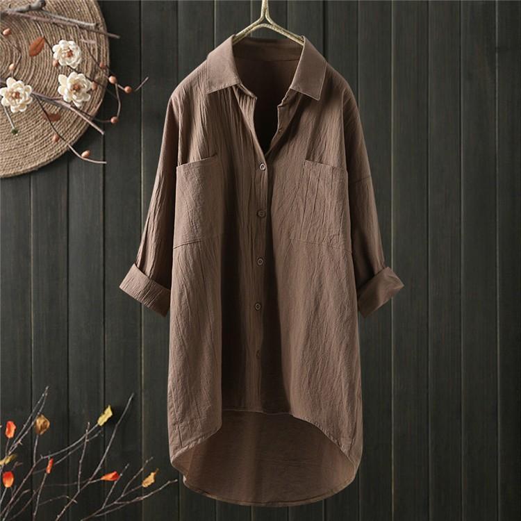 ロングシャツ ブラウス シャツ トップス シャツブラウス レディース チュニック ロング 折り襟 綿麻 長袖 無地 ポケット 体型カバー ゆったり シンプル 30代|fukumarufukumaru|13