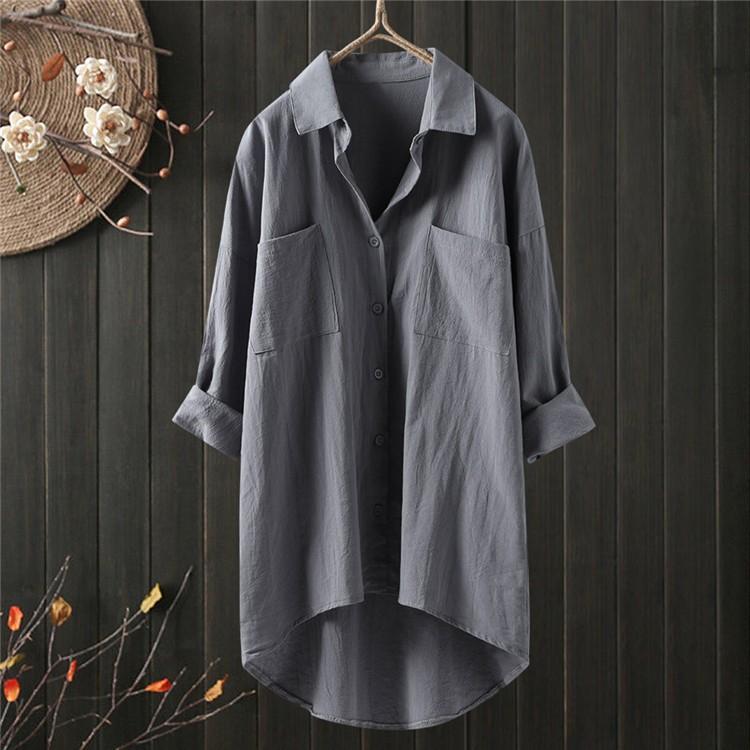 ロングシャツ ブラウス シャツ トップス シャツブラウス レディース チュニック ロング 折り襟 綿麻 長袖 無地 ポケット 体型カバー ゆったり シンプル 30代|fukumarufukumaru|14