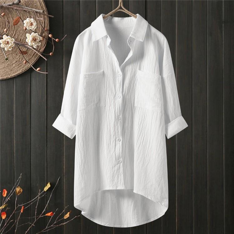ロングシャツ ブラウス シャツ トップス シャツブラウス レディース チュニック ロング 折り襟 綿麻 長袖 無地 ポケット 体型カバー ゆったり シンプル 30代|fukumarufukumaru|11