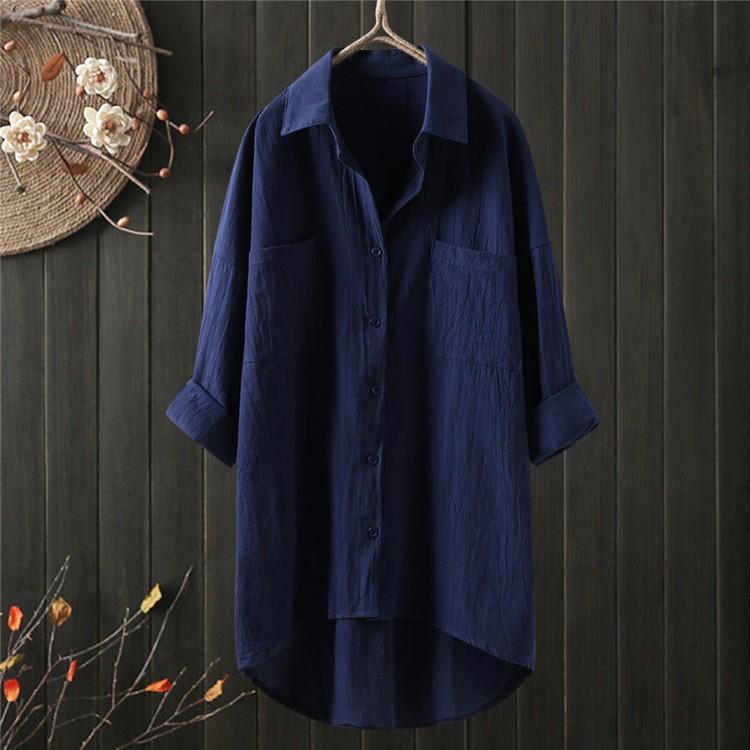 ロングシャツ ブラウス シャツ トップス シャツブラウス レディース チュニック ロング 折り襟 綿麻 長袖 無地 ポケット 体型カバー ゆったり シンプル 30代|fukumarufukumaru|16