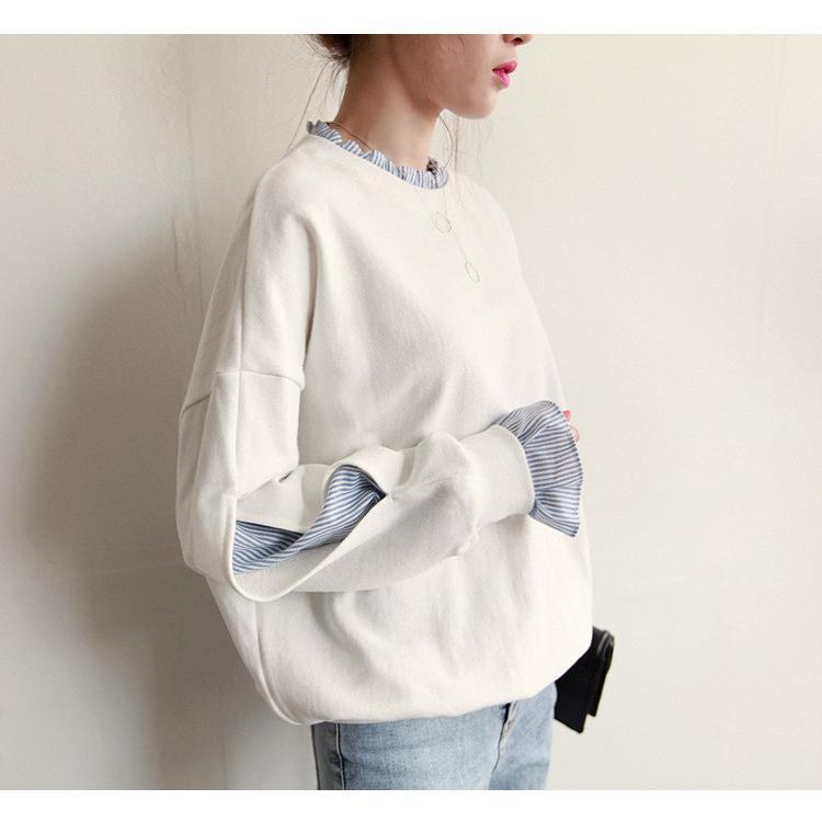 Tシャツ 春 トップス ブラウス プルオーバー レディース フェイクレイヤード コーデ Uネック 2色スプライス 長袖 柄 シンプル ゆったり きれいめ 通気性 30代|fukumarufukumaru|14