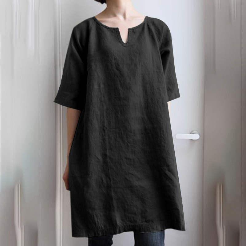 チュニック ロングシャツ ワンピース レディース プルオーバー 綿麻 トップス 半袖 大きいサイズ ゆったり 体型カバー fukumarufukumaru 12
