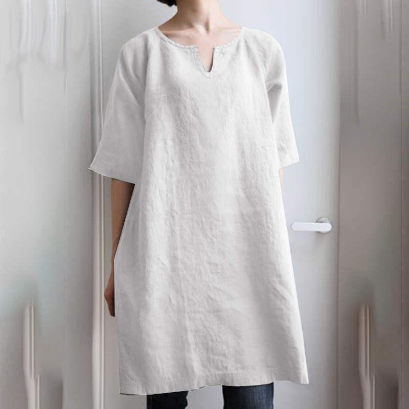 チュニック ロングシャツ ワンピース レディース プルオーバー 綿麻 トップス 半袖 大きいサイズ ゆったり 体型カバー fukumarufukumaru 10