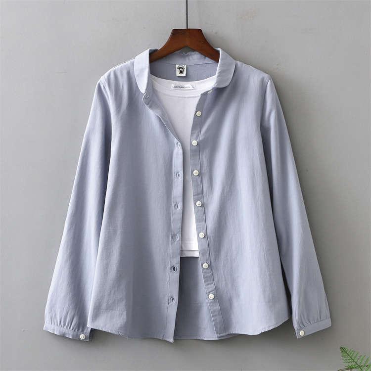 シャツ 長袖 トップス ワイシャツ レディース 秋 コットン 綿 シャツブラウス 綿シャツ 通気性 シンプル ボタン留め 前開き 着心地いい カジュアル|fukumarufukumaru|19