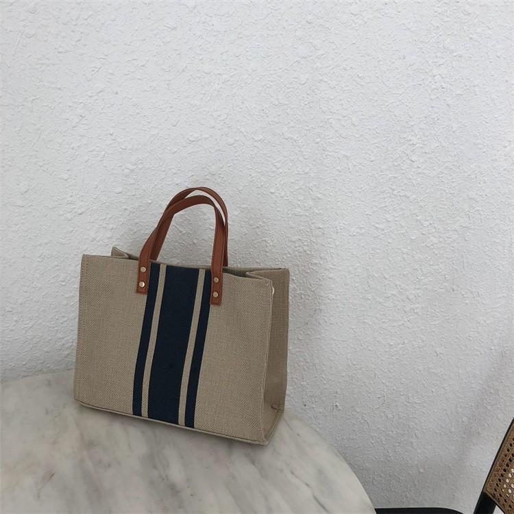 ハンドバッグ バッグ トートバッグ トート マザーズバッグ かばん レディース 大きめ ストライプ 肩掛け 大容量 柄 帆布 布製 手提げ 軽い 軽量 通勤 シンプル|fukumarufukumaru|22