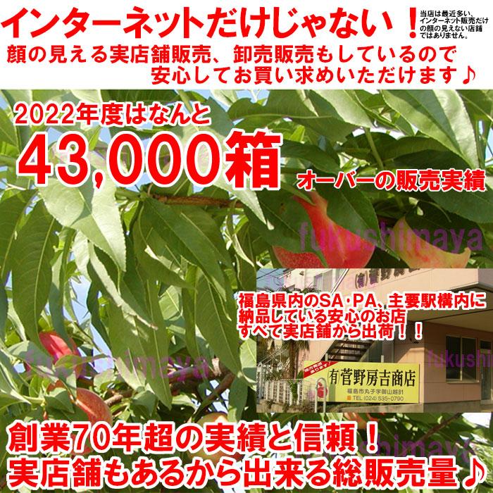 ふくしまや実店舗『菅野房吉商店』と合わせて昨年度の桃総出荷数60,000箱オーバーの出荷となりました。今年も『皇室献上桃の郷『伊達市産』の桃。