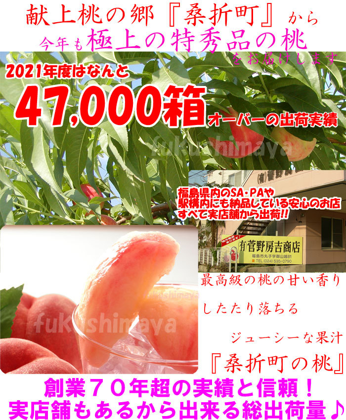 ふくしまや実店舗『菅野房吉商店』と合わせて昨年度の桃総出荷数60,000箱オーバーの出荷となりました。今年も『献上桃の郷『桑折町産』の桃。