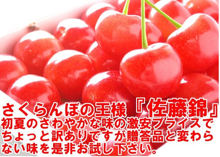さくらんぼの王様『佐藤錦』初夏のさわやかな味の激安プライスでちょっと訳ありですが贈答品と変わらない味を是非お試し下さい。