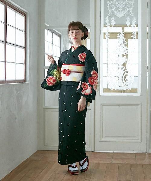 小紋「飴椿」 小紋 ふりふオリジナル 着物 キモノ きもの kimono 卒業式 パーティー 2次会 仕立て上がり 訪問着調 付け下げ プレタ フリーサイズ