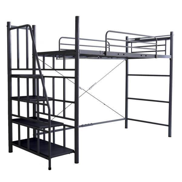ロフトベッド シングル 階段付き 宮付き 2口コンセント付き 一人暮らしやワンルームに スチールパイプベッド シングルベッド シングルロフトベッド 子供 キッズ|futon-anmin|16