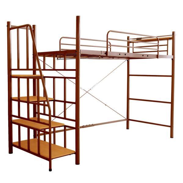 ロフトベッド シングル 階段付き 宮付き 2口コンセント付き 一人暮らしやワンルームに スチールパイプベッド シングルベッド シングルロフトベッド 子供 キッズ|futon-anmin|14