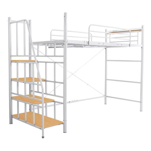ロフトベッド シングル 階段付き 宮付き 2口コンセント付き 一人暮らしやワンルームに スチールパイプベッド シングルベッド シングルロフトベッド 子供 キッズ|futon-anmin|15