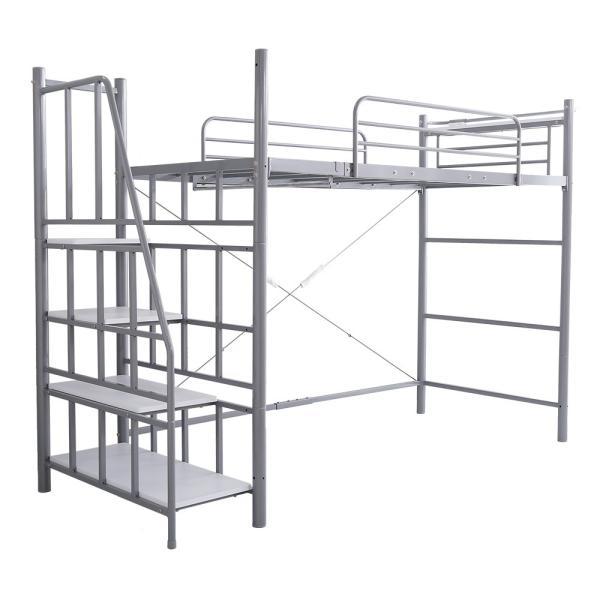 ロフトベッド シングル 階段付き 宮付き 2口コンセント付き 一人暮らしやワンルームに スチールパイプベッド シングルベッド シングルロフトベッド 子供 キッズ|futon-anmin|13