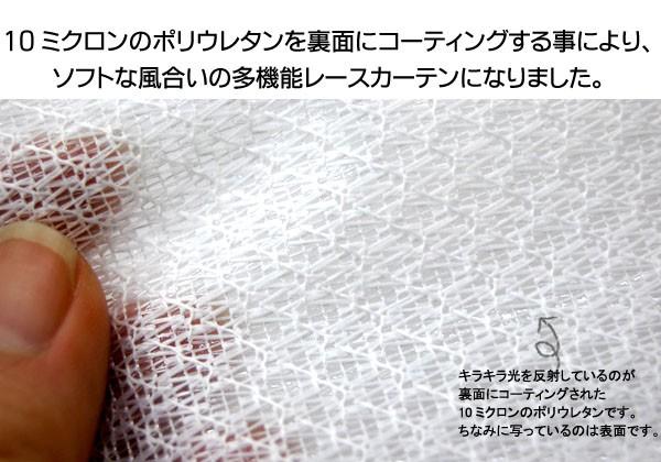 10ミクロンのポリウレタンを裏面にコーティングする事によりソフトな風合いの多機能レースカーテンに