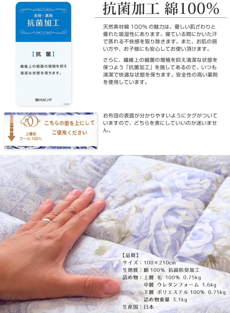 西川リビング軽量敷布団-配色