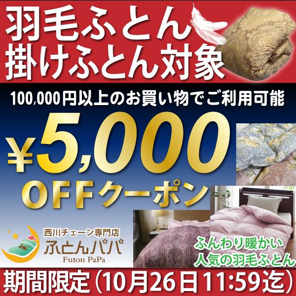 西川チェーン専門店 ふとんパパ 期間限定 羽毛ふとん、掛けふとん限定 5000円オフクーポン(^o^)丿