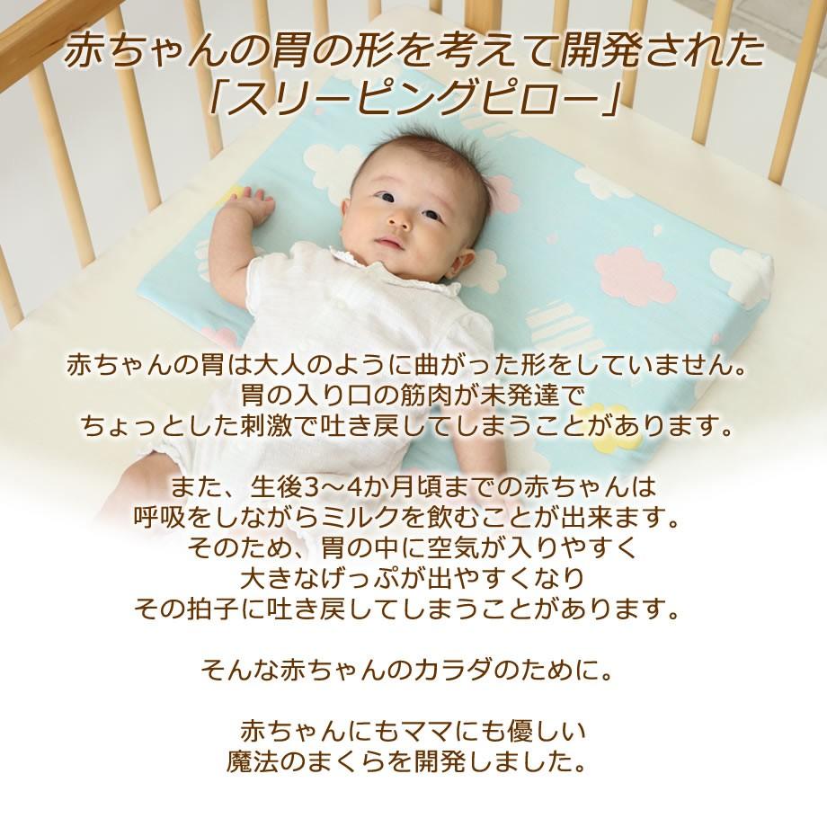 赤ちゃんの胃の形を考えて開発されたまくら