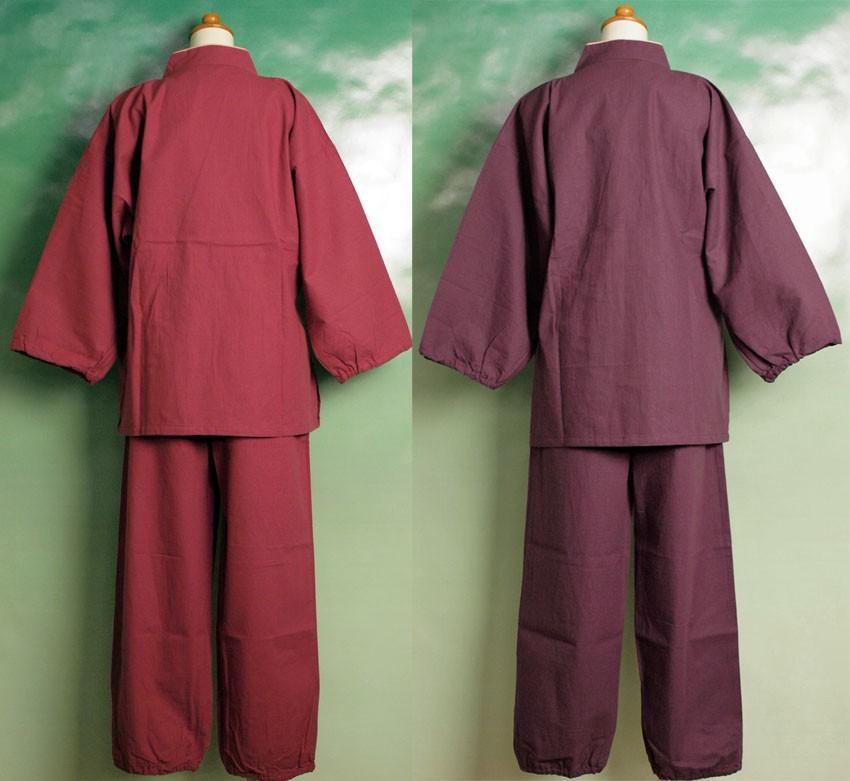 作務衣 ピンク 紫