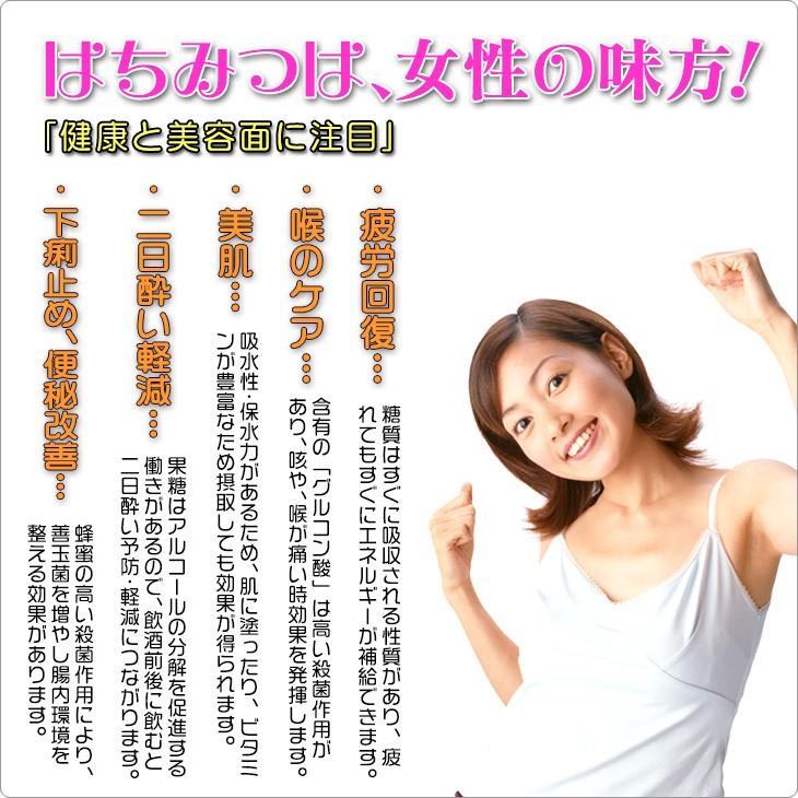 はちみつは、女性の味方!健康と美容面に注目」・疲労回復…糖質はすぐに吸収される性質があり、疲 れてもすぐにエネルギーが補給できます。・喉のケア…含有の「グルコン酸」は高い殺菌作用が あり、咳や、喉が痛い時効果を発揮します。・美肌…吸水性・保水力があるため、肌に塗ったり、ビタミ ンが豊富なため摂取しても効果が得られます。・二日酔い軽減…果糖はアルコールの分解を促進する 働きがあるので、飲酒前後に飲むと 二日酔い予防・軽減につながります。・下痢止め、便秘改善…蜂蜜の高い殺菌作用により、 善玉菌を増やし腸内環境を 整える効果があります。