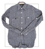 F.O.B(エフオービー) F3208 セルヴィッチギンガムチェックワークシャツ 旧織機で織られた凹凸ある生地感(ネイビー)