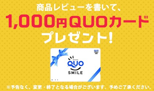 商品レビューを書いてQUOカードプレゼント
