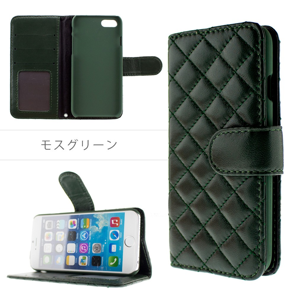 iPhone XR XS XSMAX ケース 手帳型 8 7 8plus 7 plus キルティング ラム革 本革 レザー