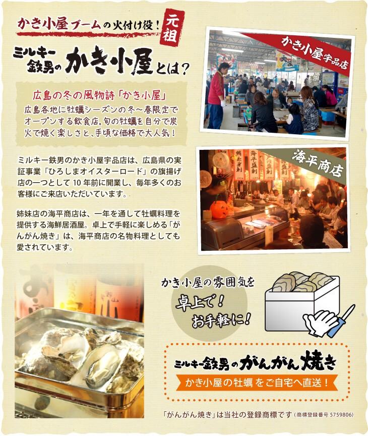 かき小屋ブームの火付け役「ミルキー鉄男のかき小屋」とは?広島の冬の風物詩「かき小屋」は広島各地に牡蠣シーズンの冬〜春限定でオープンする飲食店。旬の牡蠣を自分で炭火で焼く楽しさと、手頃な価格で大人気!ミルキー鉄男のかき小屋宇品店は、広島県の実証事業「ひろしまオイスターロード」の旗揚げ店の一つとして10年前に開業し、毎年多くのお客様にご来店いただいています。姉妹店の海平商店は、一年を通して牡蠣料理を提供する海鮮居酒屋。卓上で手軽に楽しめる「がんがん焼き」は、海平商店の名物料理としても愛されています。かき小屋の味を卓上で!お手軽に!ミルキー鉄男のがんがん焼き。かき小屋の牡蠣をご自宅へ直送!「がんがん焼き」は当社の登録商標です(商標登録番号5759806)