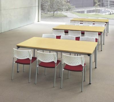 as-1890 会議テーブル メープル色があたらしい。塗装脚タイプ