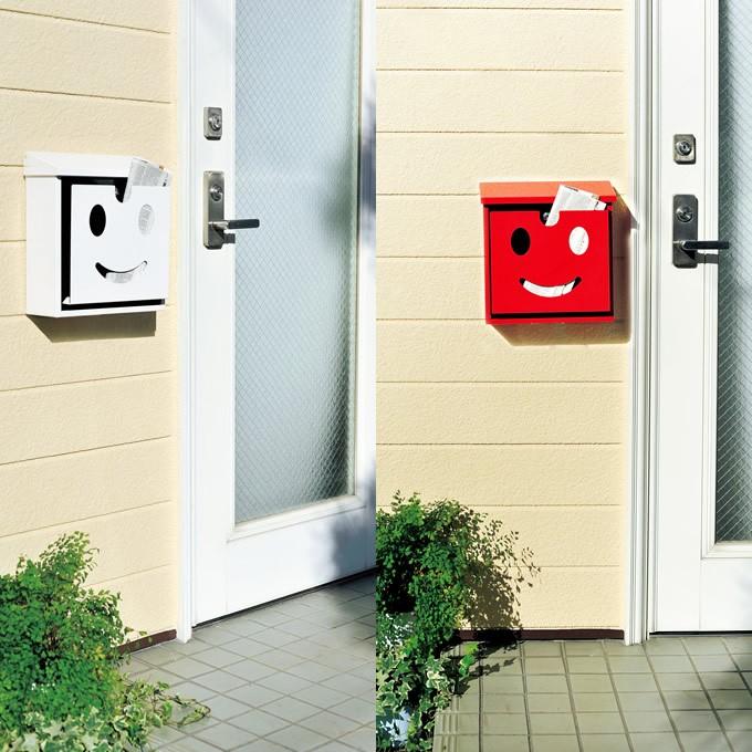 ウォールポスト スマイルフェイス /郵便ポスト/郵便受け/ポスト/壁付け/壁掛け/かわいい/庭/ガーデン/エクステリア/ガーデニング