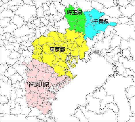 関東地方取付工事可能地域地図