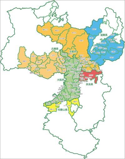 近畿地方取付工事可能地域地図