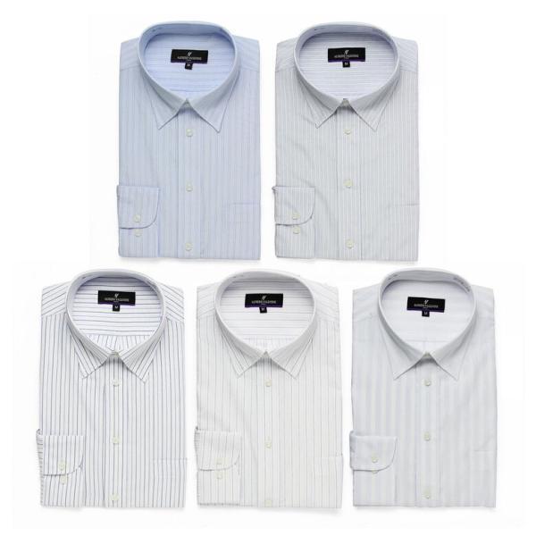 ワイシャツ Yシャツ 5枚セット レギュラー メンズ 長袖 ビジネス ストライプ 袖 長い|gerbera-2|13