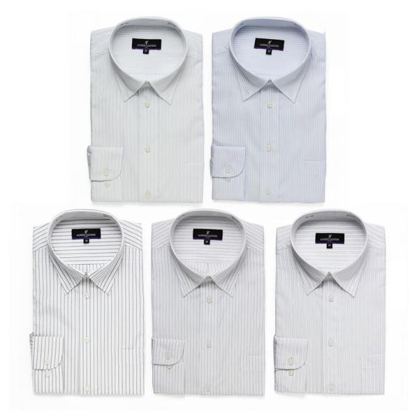 ワイシャツ Yシャツ 5枚セット レギュラー メンズ 長袖 ビジネス ストライプ 袖 長い|gerbera-2|14