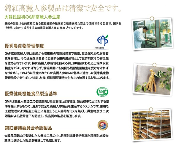 錦紅製品の清潔・安全性