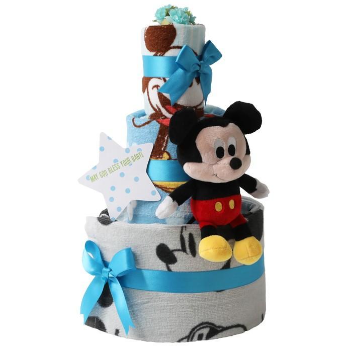 おむつケーキ ディズニー オムツケーキ 出産祝い 身長計付きバスタオル 3段 おむつケーキ ミニオンズ minions ちょっこりさん|gift-one|13