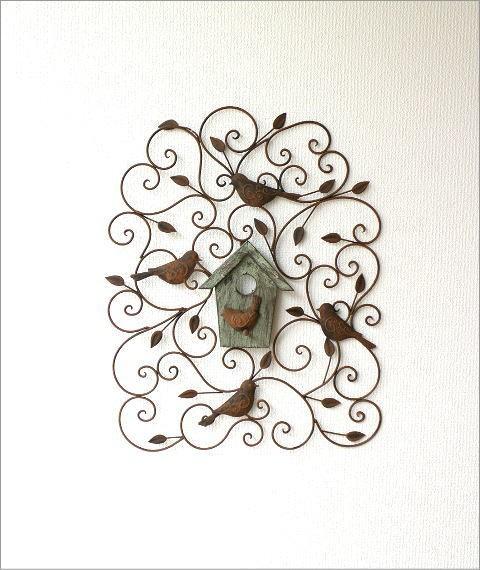 アイアンの壁飾り ウッドバードハウス(6)