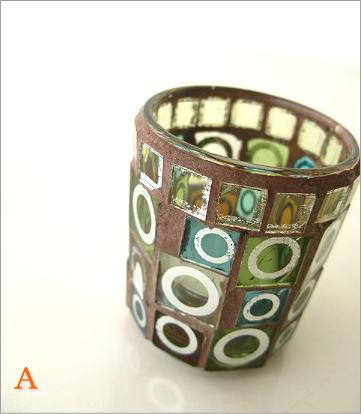 モザイクガラスのキャンドルカップ3タイプ(6)