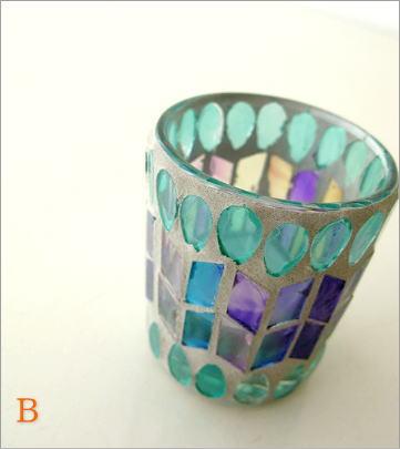 モザイクガラスのキャンドルカップ3タイプ(7)