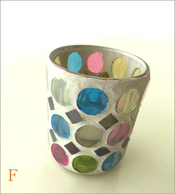 モザイクガラスのキャンドルカップ3タイプ(10)