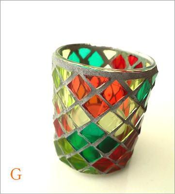 モザイクガラスのキャンドルカップ3タイプ(11)
