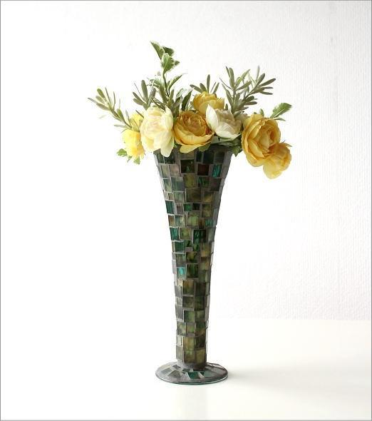 フラワーベース モザイクガラスの花瓶B(6)