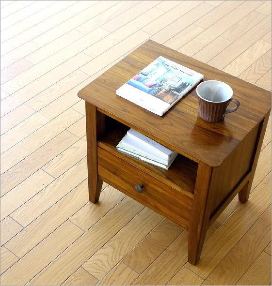 ベッドサイドテーブル チークサイドテーブル45