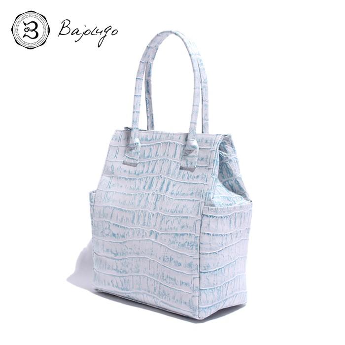 BajoLugo バジョルゴ クロコダイル型押しホワイトグラデーション ブルー サイドポケット ミニトートバッグ
