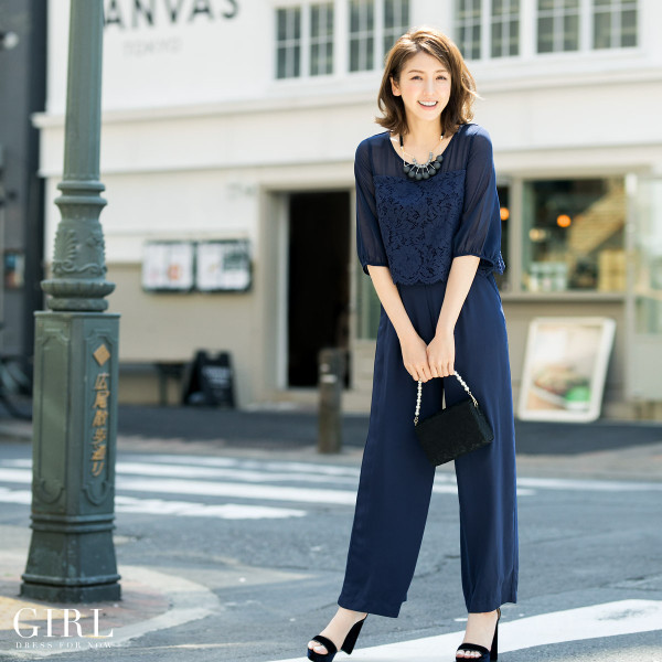 パーティードレス 結婚式 パンツドレス 大きいサイズ 20代 30代 40代 モデル美香着用 お呼ばれ オールインワン 二次会 ワイドパンツ|girl-k|09